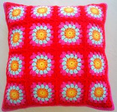 granny square crochet cushion cover in red and by handmadebyria,