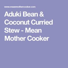 Aduki Bean & Coconut Curried Stew - Mean Mother Cooker
