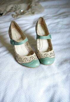 Vintage Duck Egg Blue & White Shoes - JoDeedaa
