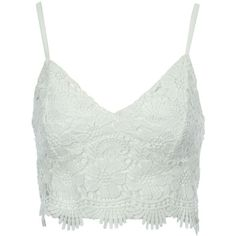 Jane Norman Crochet Bralet (265 HRK) ❤ liked on Polyvore featuring tops, sale, white, v-neck tops, sleeveless tops, crochet summer tops, sleeveless crop top and white bralette tops