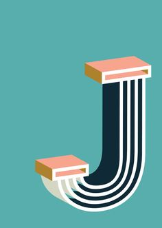 Bold J Art Print by Ruth Vissing #illustration #typography