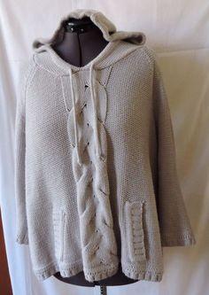 Avenue Women Gray Hooded Knit Sweater Plus Size 22/24 #Avenue #Hooded