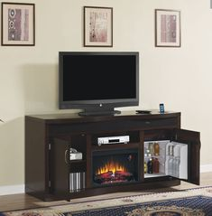 Superbowl Products: The Endzone Electric Fireplace Entertainment Center with Mini-Fridge is perfect for game day!