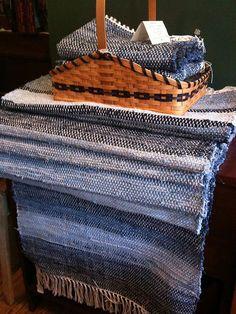 Amish made denim rag rugs at Rebecca Haarer Antiques