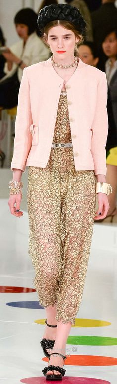 Chanel ~ Resort Spring Caramel+Beige Print Jumpsuit w Pale Pink Button Jacket 2016