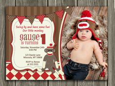 Printable Sock Monkey Birthday Photo Invitation | Boy First Birthday Party Idea | FREE thank you card included | Argyle | www.dazzleexpressions.com