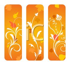 iCLIPART - Royalty Free Clipart Image of a Set of Autumn Floral Borders