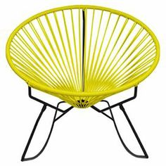"""Bring breezy appeal to your kitchen or three-season porch with this Acapulco-inspired side chair, showcasing an intriguing silhouette and yellow finish. Product: ChairConstruction Material: Steel and vinylColor: YellowFeatures: UV resistant treated vinylCircular frameRust resistant coating Suitable for indoor or outdoor useDimensions: 31"""" H x 33"""" W x 33"""" D"""