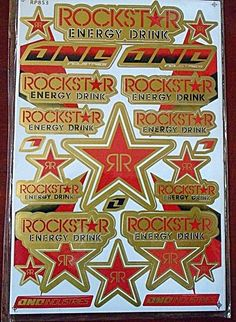 Rockstar Sheets Sticker Decal Car ATV Bike Racing Helmet Motor cross Dirt BMX