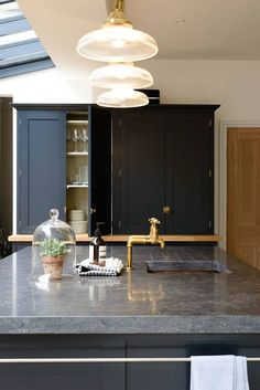 blue limestone counters | deVOL kitchens