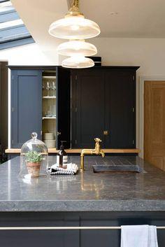 blue limestone counters | deVOL kitchens