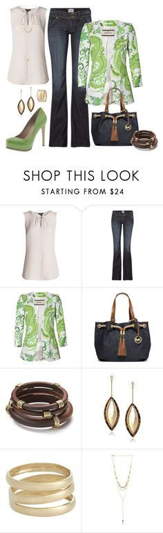 """Green #3"" by mwaldhaus ❤ liked on Polyvore featuring NIC+ZOE, Hudson Jeans, By Malene Birger, Pour La Victoire, MICHAEL Michael Kors, Lauren Ralph Lauren, Steve Madden, Loren Stewart and Ettika"