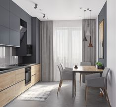 Modern Kitchen Design 44 m - Галерея Kitchen Room Design, Kitchen Sets, Modern Kitchen Design, Home Decor Kitchen, Modern Interior Design, Interior Design Living Room, Gold Kitchen, Kitchen Trends, Kitchen Layout