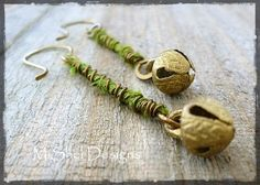 Wire Wrapped Recycled Sari Silk Ribbon Bell Dangle Earrings by MiShel Designs on Etsy. $28.00
