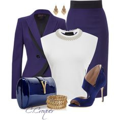 A fashion look from March 2014 featuring tee-shirt, blue blazers and blue skirts. Browse and shop related looks. Fashion Wear, Work Fashion, Fashion Outfits, Womens Fashion, Fashion Trends, Classy Outfits, Stylish Outfits, Beautiful Outfits, Business Chic
