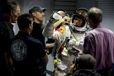 Felix Baumgartner prepares for a test run of his record breaking skydive from…