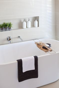 "Picture relaxing in this beautiful free standing bathtub.now that is luxury… I like the little ""cubby"" and the faucet coming out of the wall. 3d Bathroom Design, Bathroom Niche, Laundry In Bathroom, Bathroom Ideas, Bathroom Caddy, Bathtub Ideas, Bathroom Trends, Bathroom Inspo, Bath Caddy"
