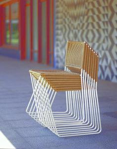 Ramón Bigas Metal And Wicker Stackable Chair-barcelonaindesign.com