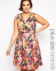 Image 1 ofPaper Dolls Plus Printed Prom Dress $94