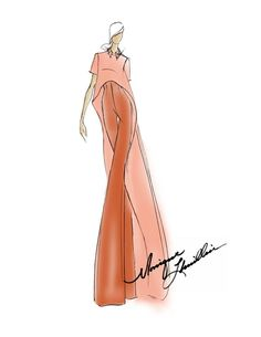 A Spring 2014 sketch preview from Monique Lhuillier's latest collection, showing tonight at Lincoln Center Mercedes-Benz Fashion Week.