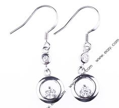 Round Crystal Dangle Genuine 925 Sterling Silver Charms Earring Eardrop