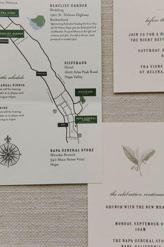 """Kit de papelaria para casamento americano com convite para a festa de casamento, """"mapa da mina"""" do local da festa e convite para um brunch no dia seguinte. Perfeito para um casamento americano!"""