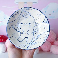 This is a ceramic item, handmade with food safe glazes. Pretty Art, Cute Art, Clay Art Projects, Pretty Drawings, Art Desk, Funky Art, Cute Clay, Clay Design, Cool Paintings