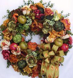 Fall, Fruit, Apple, Artichoke, Corn, Pumpkin, Flower Door Wreath