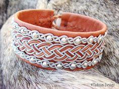 Sami Leather Bracelet Cuff GERE in Cognac Brown Reindeer Leather with Sterling Silver beads and Antler Button - Handcrafted Tribal Elegance from Tjekijas Design.