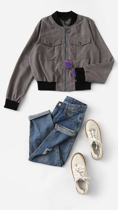 30be71df3f SHEIN Grey Casual Solid Button Zip Up Flap Pocket Stand Collar Bomber  Jacket Zip Ups,