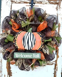 Welcome Fall Animal Print Pumpkin Wreath on by CreationsbySaraJane