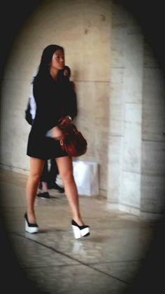 total black with a big white step #platforms #NYFWss2015 #fashionweek #streetstyle