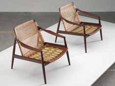 Hartmut Lohmeyer Armchairs in Teak and Cane