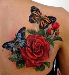 tatuagens femininas nas costas flores - Pesquisa Google