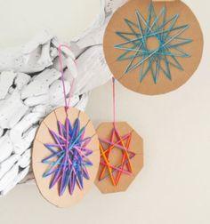 ❤ Karácsonyfadíszek fonalból és kartonból - csillagok ❤Mindy -  kreatív ötletek és dekorációk minden napra