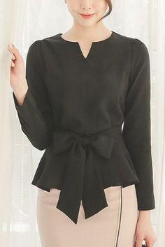 Slit Neck Ribbon Flared Blouse Modern Hijab Fashion, Work Fashion, Blouse Styles, Blouse Designs, Office Attire Women, Korean Blouse, African Blouses, Pencil Skirt Outfits, Vetement Fashion
