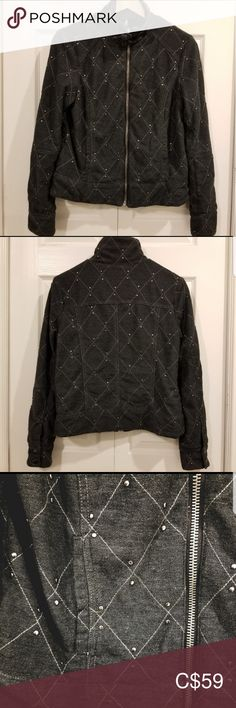 """Free People Studded Moto Jacket Good Used Condition in charcoal. Quilted stitching with stud detailing. Full zip front with 2 buckles around collar. Cotton/poly blend. Stock photo for fit. Approx flatlay measures Pit to pit 17.5"""" Front length 21.5"""" Sleeve 24"""" Hem 19"""" Free People Jackets & Coats Free People Jacket, Plus Fashion, Fashion Tips, Fashion Trends, Moto Jacket, Charcoal, Black And Grey, Stitching, Jackets For Women"""