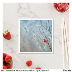 Red Cardinal in Winter Nature Photo Christmas Napkins