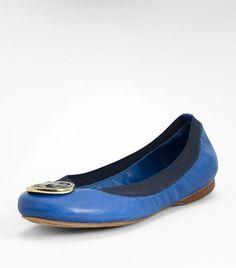 Tory Burch leather caroline ballet flat- blue