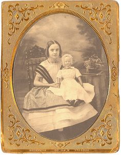 1/4 Plate early salt print 1860's of young lady with her doll.