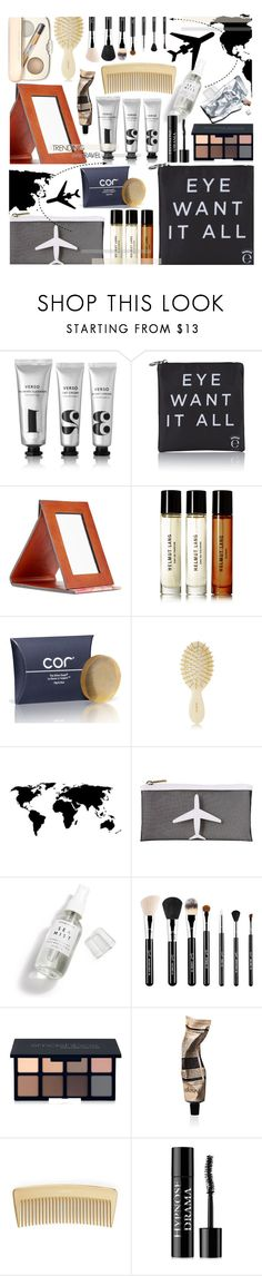 """""""TRENDING: TRAVEL, TRAVEL SIZE BEAUTY"""" by cutandpaste ❤ liked on Polyvore featuring beauty, Verso, Eyeko, Patricia Nash, Helmut Lang, AERIN, TravelSmith, Herbivore, Smashbox and Aesop"""