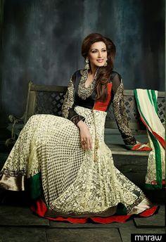 Sonali Bendre In Cream Anarkali In Viscose & Embroidered Net