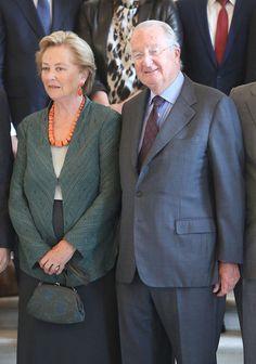 Queen Paola and King Albert of Belgium receive members of COMORI at Laeken Castle on 8 July 2013 in Brussels, Belgium.