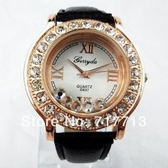 NEW Lovely Crystal Encrusted Rose Gold Tone Patent Leather Women Watch Bracelet  #Gerryda #DressCasual