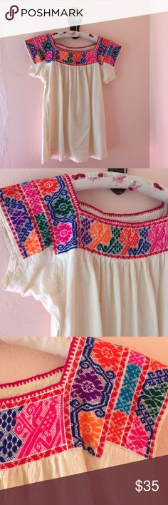 Fluorescent Mexican Embroidered Top This one is really eye catching with its bird and floral motifs, the color is amazing! Firm on price with this one. Not FP but shares its vibes Tops Blouses