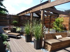 Chicago Roof Deck and Garden is Chicago's premier innovator in professional, specialty and custom roof decks. Deck With Pergola, Patio Roof, Pergola Plans, Roof Design, Patio Design, Cheap Deck Ideas, Patio Ideas, Yard Ideas, Outdoor Spaces