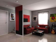 Decoración de interiores. Tabique separador de ambientes y punto de decoración Serastone. Para más info: http://www.serastone.com