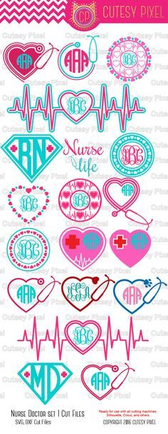 Nurse, Doctor Monogram Frames set 1 THIS HAS BEEN UPDATED! IF YOU ALREADY PURCHASED YOU MAY RE-DOWNLOAD TO GET NEW FILES Please have a look at my other art! https://www.etsy.com/shop/CutesyPixel This is Digital artwork ready for immediate download and ready to be use on such software as Cricut Design Space, Silhouette Studio and other cutting software. The high quality files will cut cleanly and smoothly since they are professionally digitized instead of auto-traced. -...