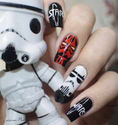 Star Wars Nail Art by Lizananails on deviantART Star Wars Nails, Elegant Nails, World Star, Nail Art, Deviantart, Stars, Dark Side, Beauty, Disney