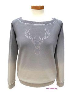 Sweatshirt, grau, Hirsch
